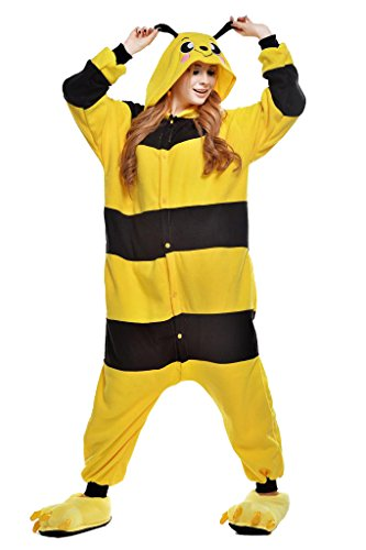 NEWCOSPLAY Unisex Adult Animal Pajamas Halloween Costume (XL, Bee) ()