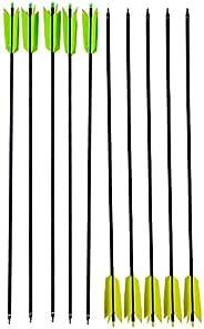 12 Pcs 30Inch Archery Flu Flu Arrow 400 Spine Carbon Arrow Target Practice Arrow with 4 Pcs Feather