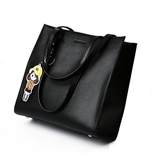 Mujer mujeres de bolso de bolso Bag las americano europeo Negro hombro y LEODIKA bolsa de mano ocasional bolso Black aAxwEZnHq