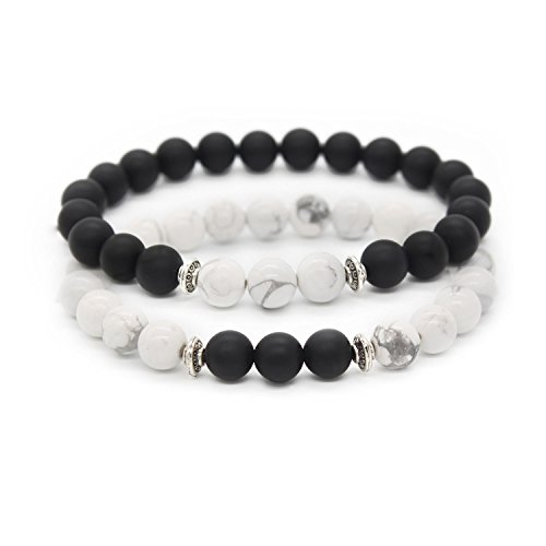Two Stone Bead (POSHFEEL Long Distance Couples Bracelets 8mm Howlite & Natural Stone Beads 2 Pieces, 7.5