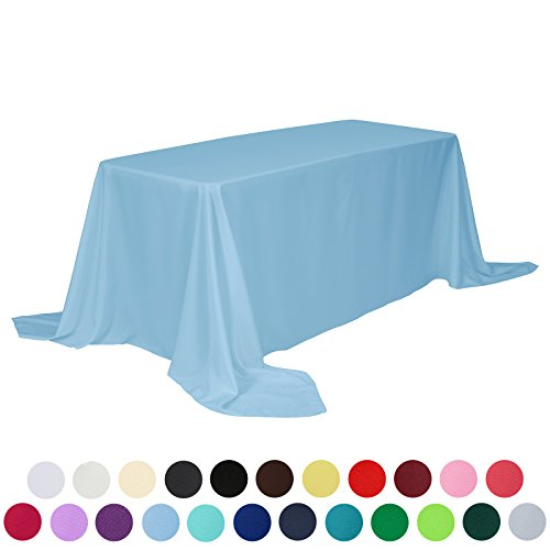 Price comparison product image VEEYOO 90 x 132 inch Rectangular Solid Polyester Tablecloth for Wedding Restaurant Party, Baby Blue