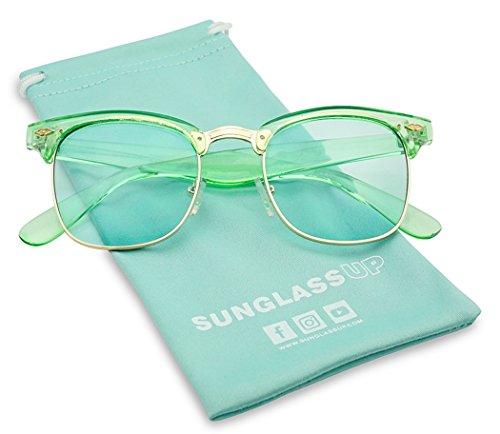 Square Retro Colorful Half Frame Horn Rimmed Color Tinted Lens Sun Glasses (Gold Green Frame / Green, - Horn Rimed Glasses
