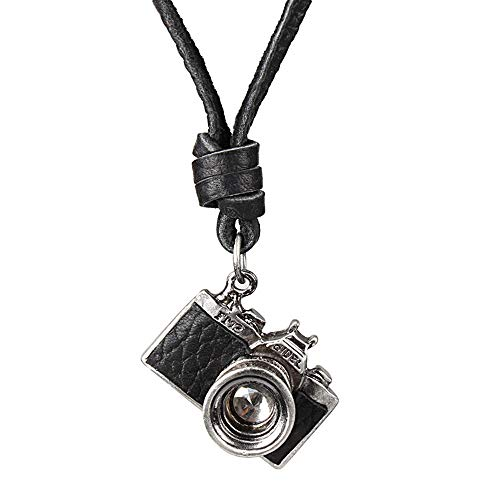 Qiu Shi Vintage Style Personality Antique Camera Pendant Necklace for Women Men (Alloy,Leather Rope - Pendant Necklace Camera
