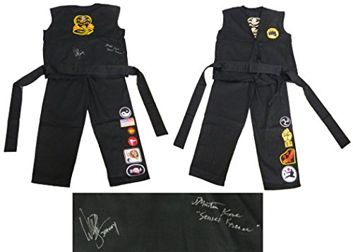 William Zabka & Martin Kove Dual Signed The Karate Kid Black Cobra Kai Karate Uniform Gi w/Johnny, Sensei Kreese