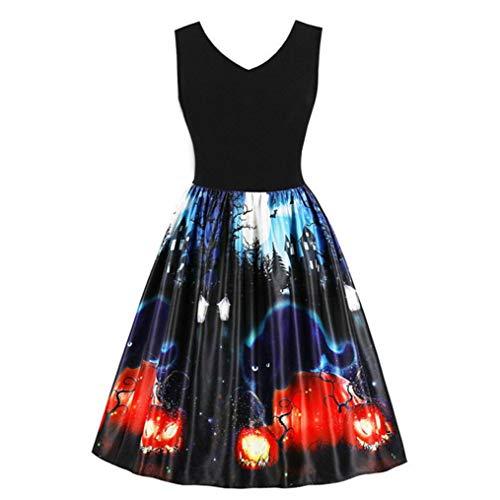 Halloween Costumes Dress Pumpkin Black Cat Ghost Vintage Print Dress Evening Prom for Women -