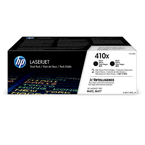 HP 410X (CF410XD) Black High Yield Original LJ Toner Cartridge, 2 Pack
