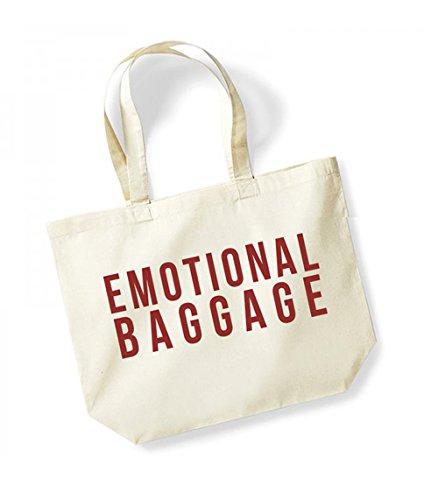 Emotional Baggage - Large Canvas Fun Slogan Tote Bag Natural/Red