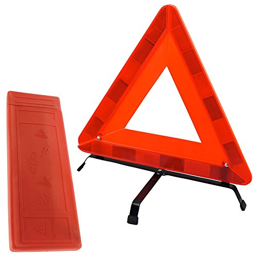 TekBox Folding Car Warning Safety Triangle in Protective Plastic Case/Reflective Red Hazard EU Emergency Breakdown For Car, Van, Truck, Lorry