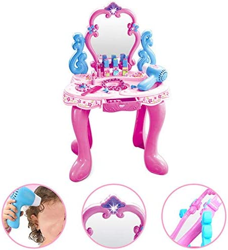 子供のための化粧台 表子供のリトルプリンセスパズル玩具女の子ドレッシングテーブルセット安全な女の子のお気に入りのおもちゃ70x40x30cmドレッシングシミュレーションプレイハウス 子供のための素晴らしい贈り物 (Color : Pink, Size : 70x40x30cm)