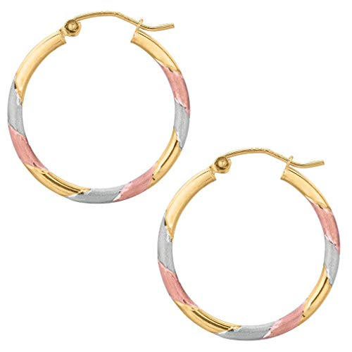 14k REAL Tricolor Yellow and White and Rose/Pink Gold 25MMx3.0 Thickness Classic Round Tube Hoop Earrings with Snap Post Closure For -