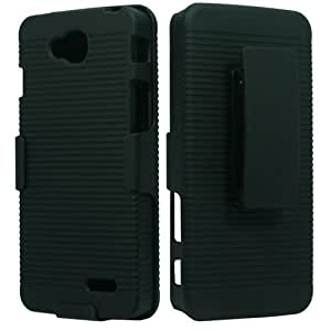 Rubberized Plastic Black Hard Cover Snap On Case W/ Belt Clip Holster Stand For LG Optimus L70 + Free Screen Protector (Accessorys4Less)