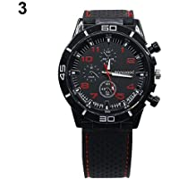 wsloftyGYd Men\'s Racer Military Pilot Aviator Army Style Cool Silicone Sports Wrist Watch Red