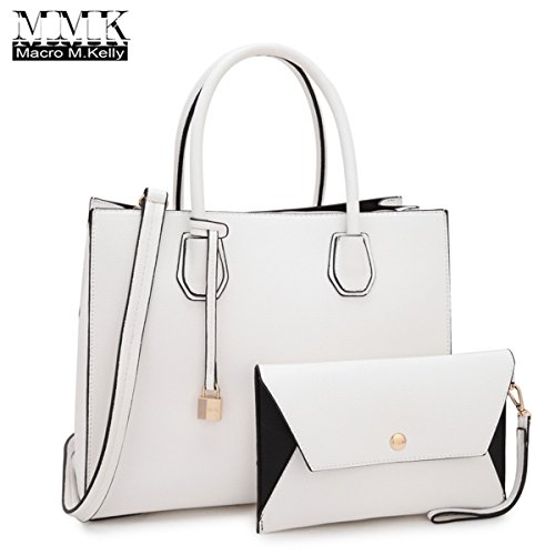MMK collection Fashion Women Purses and Handbags Ladies Designer Satchel Handbag Tote Bag Shoulder Bags with coin purse (XL-MA-23-7661-WHITE)