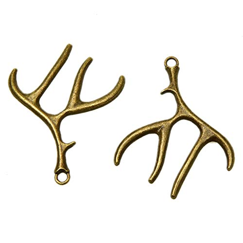 - WEFOO Monrocco 20 PCS Antique Bronze Deer Antler Charms Bulk for Necklace Jewelry Making Keychains 51x40mm.