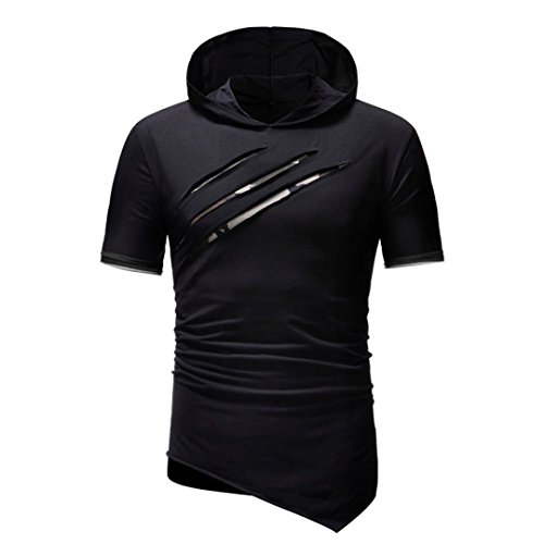 - Zainafacai Men's Bodybuilding Hooded Top Blouse Burnout Fitness Short Sleeve Muscle Shirt (Black, 2XL)
