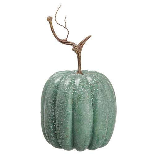 SilksAreForever 13'' Hx7 W Artificial Weighted Pumpkin -Green/Gray (Pack of 6)