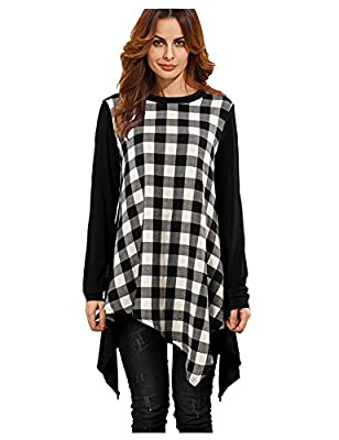 Womens Casual Long Sleeve Patchwork flare Plaid Shirt