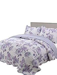vivinna home textile Printing Quilt Queen Size Sets -3pcs Include 2 Pillow Shams Patchwork Bedspread Blanket (Queen:90
