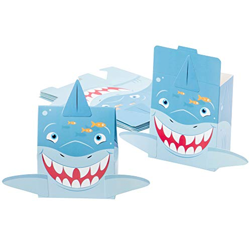 Shark Favor Boxes - 24-Pack Paper Treat Boxes with Die-Cut Shark Design, Sea Themed Party Favors Boxes, Goodie Gift Loot Boxes, Kids Birthday Party Supplies, 6 x 2.1 x 7.75 -