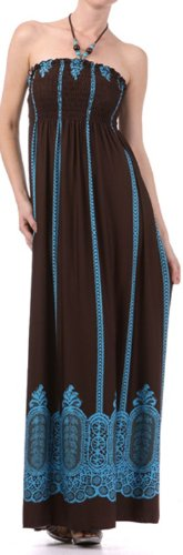 FO35B7931 - Vertical Stripes Print Beaded Halter Smocked Bodice Long/Maxi Dress Sizes - Brown/Small