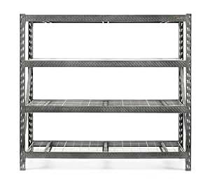 Gladiator GARS774SZG Tool Free 4 Shelf 8000-Pound Capacity Rack Shelf, 77-Inch Wide by 72-Inch High