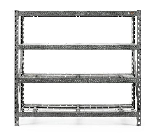 Heavy Duty Industrial Shelving - Gladiator GARS774SZG Tool Free 4 Shelf 8000-Pound Capacity Rack Shelf, 77-Inch Wide by 72-Inch High