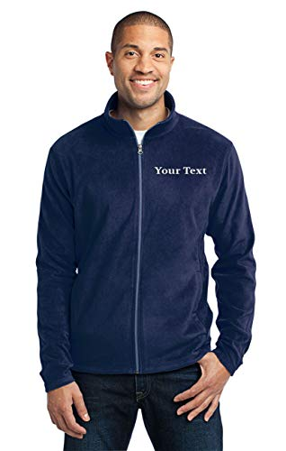 Custom Embroidered Lightweight Jacket for Men - Embroidery Zip Up Fleece Outerwear True Navy]()