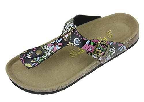 Unisex Summer Flip Flops Causal Antiskid Home Thong Flat Sandals Beach Slippers Shoes Black Flower tCgeRLfOT