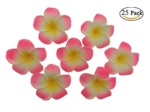 Plumeria Flowers Artificial Foam Diameter 2.7 Inch Rubra Gaobige Hawaiian Flower Petals For Wedding Party Decoration Christmas Tree (25 Pcs, Pink )
