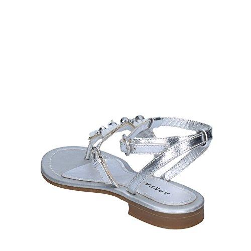 Damen EU AK625 Silber 36 Leder Apepazza Sandalen Yw5xqYv