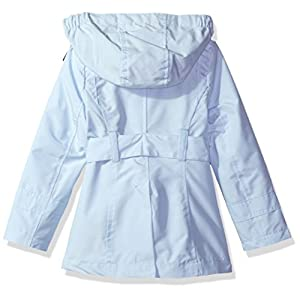 London Fog Little Girls' Double Breasted Belted Trench Coat, Blue With Gingham, 6X
