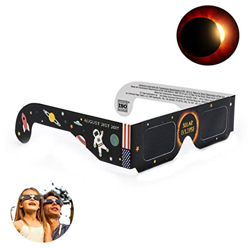Price comparison product image Glasses for Solar Eclipse, Efaster 2017 Phenomenon Solar Eclipse Watch Glasses Galaxy Edition CE and ISO Standard Predictive Observation (Brack)