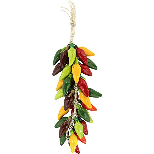 Ceramic Southwest - Tierra y Fuego Handmade Southwest Style Ceramic Chilies Ristras - Multicolor Jalapeno Pepper String