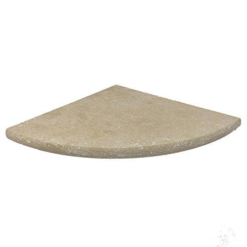 Premium Quality Light Travertine Corner Shelf Filled and Honed 9'' - Mosaic Corner Stone