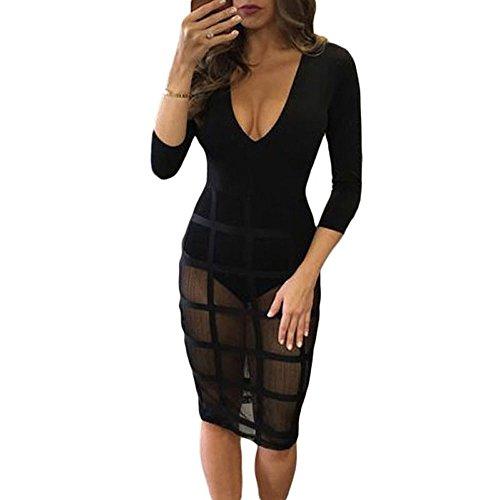 SEBOWEL Women's Sexy Stylish Sheer Mesh Bodysuit with Skirt Party Club Dress