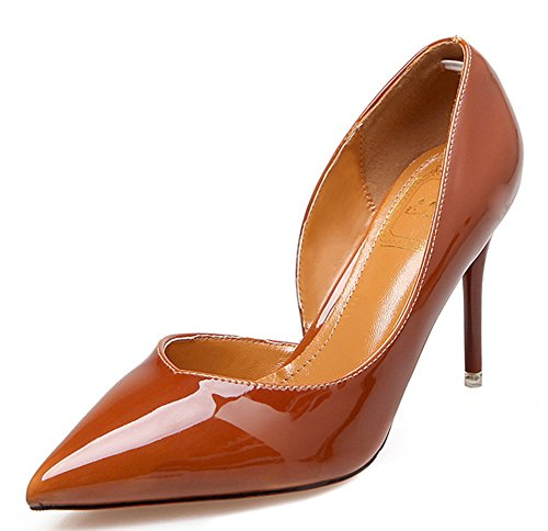Brown Sexy Pumps D Women's Pointy Court Aisun Toe Slip Shoes orsay On qTCwx7P85