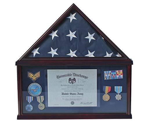 Large Military Shadow Box Frame Memorial Burial Funeral Flag Display Case for 5' X 9.5' Flag, Mahogany Finish, Solid Wood (Blue Felt - Mahogany -