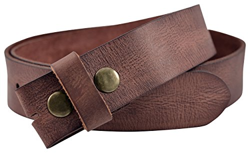 [Vintage Full Grain Buffalo Leather Solid 1-Piece Belt Strap - Brown - by TheBeltShoppe.com (46)] (Buffalo Buckle)