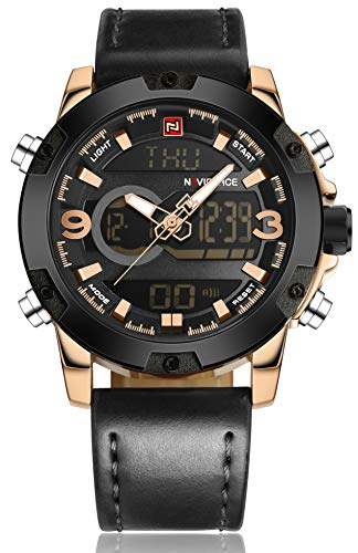 - Tonnier Genuine Leather Band Analog Digital LED Dual Time Display Mens Watch, Black&Gold