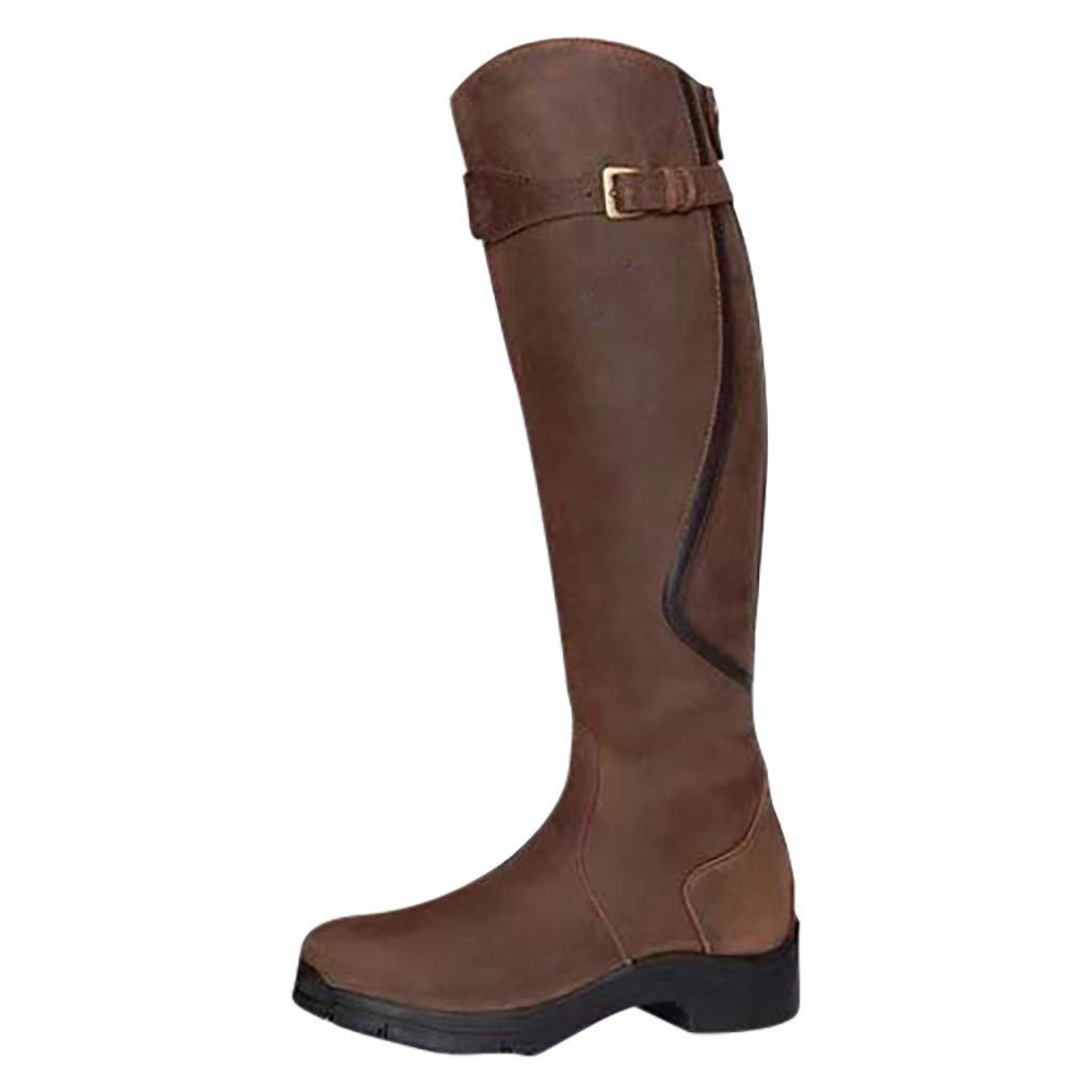 Fheaven Women Wide Calf Boots Winter Warm Low Heels Zip Riding Snow Boots Arch Support Boots Brown by Fheaven-shoes