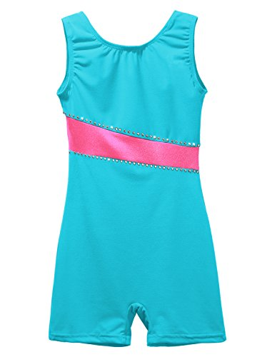 Dance Leotard for Little Girl Shiny Snowflake Biketard Gymnastics Shortall 2-11Years Blue