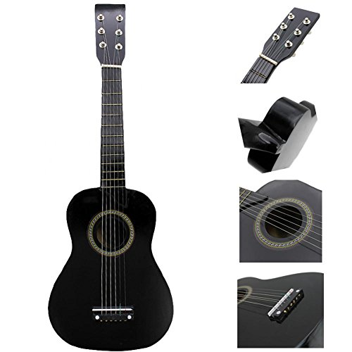 23 Inch Guitar for Kids, Basswood Mini Guitar Kids Musical Instrument Toy for Beginner(Black) by Dilwe (Image #3)