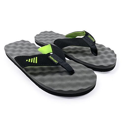 PR SOLES Recovery Flip Flops | Sandals for Men and Women | Great for Athletes | Green/Gray,MD | (W) 8.5 - 9.5 | (M) 7.5 - - Running In The Black