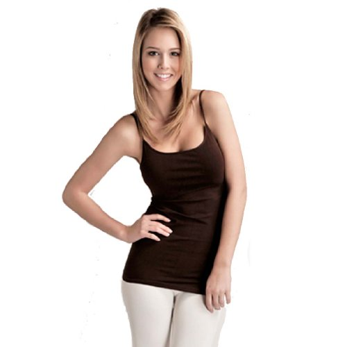 Plain Long Spaghetti Strap Tank Top Camis Basic Camisole Cotton Plus Size (2XL, Chocolate)