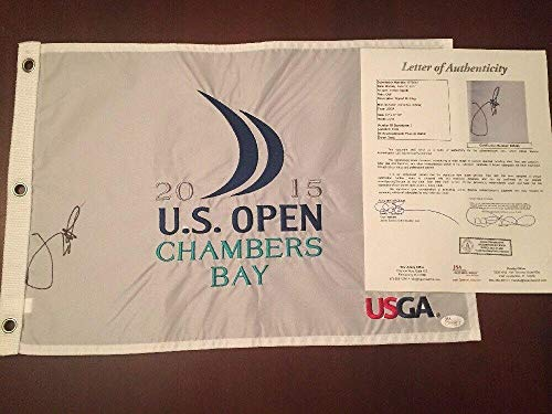 JORDAN SPIETH Signed 2015 US OPEN FLAG CHAMBERS BAY MASTERS FULL LETTER COA - JSA Certified - Autographed Golf Pin Flags