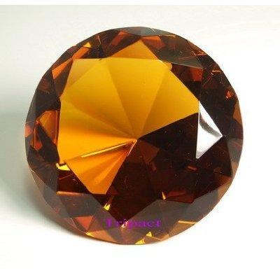 - Diamond Jewel Paperweight Amber Round Cut 100mm
