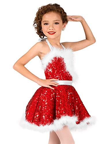 Girls Holiday Cheer Sequin Character Dance Costume Dress EL134CREDM Red Medium]()