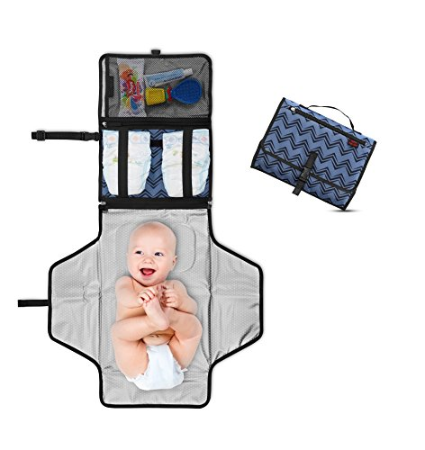Portable Changing Pad - Baby Diaper Clutch - Travel Changing Station Kit - Entirely Padded Mat - Mesh and Zippered Pockets - Hassle-free Diapering ON THE GO! - Best of Baby Shower Gifts ! - Blue Wings