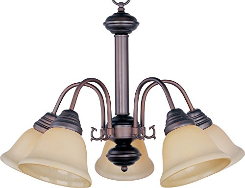 Malaga Finish Chandeliers (Maxim 2698WSOI Malaga 5-Light Chandelier, Oil Rubbed Bronze Finish, Wilshire Glass, MB Incandescent Bulb , 40W Max., Dry Safety Rating, 2900K Color Temp, Standard Dimmable, Glass Shade Material, 3000 Rated Lumens)