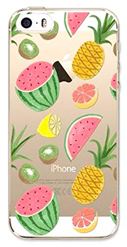 DECO FAIRY Compatible with iPhone 6 / 6s, Cartoon Anime Animated Fruit Lover Half Diced Cut Watermelon Lime Lemon Pineapple Transparent Translucent Flexible Silicone Cover Case